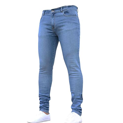 ce63eebdaab Pishon Men s Plain Lightweight Washed Denim Stretch Super Skinny Tapered  Leg Jeans