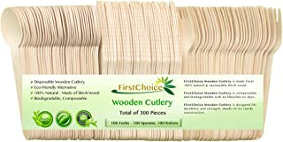 Disposable Wooden Cutlery Sets - 300 Piece Total: 100 Forks, 100 Spoons, 100 Knives, 6 Inch Length Eco Friendly Biodegradable Compostable Wooden Utensils Wooden Cutlery