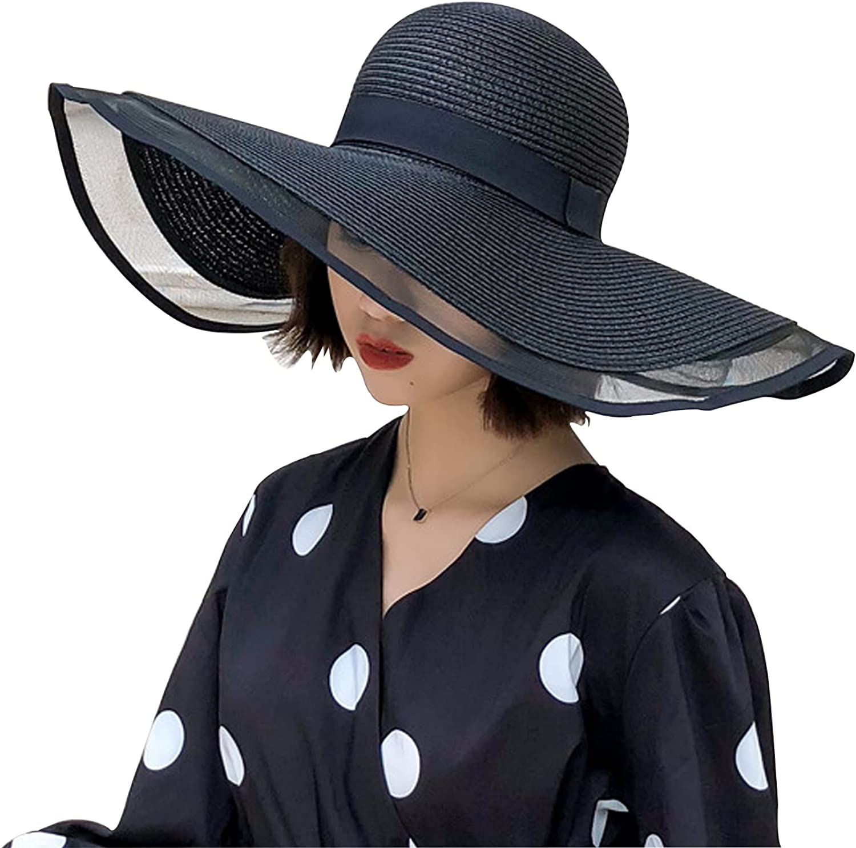 Summer Beach Sun Hats for Women Foldable Floppy Travel Packable UV Hat, Wide Brim Hat UPF 50+