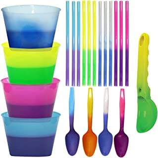 Color Changing Reusable Ice Cream Kit - 4 bowls, 4 spoons, 12 straws, 1 scoop