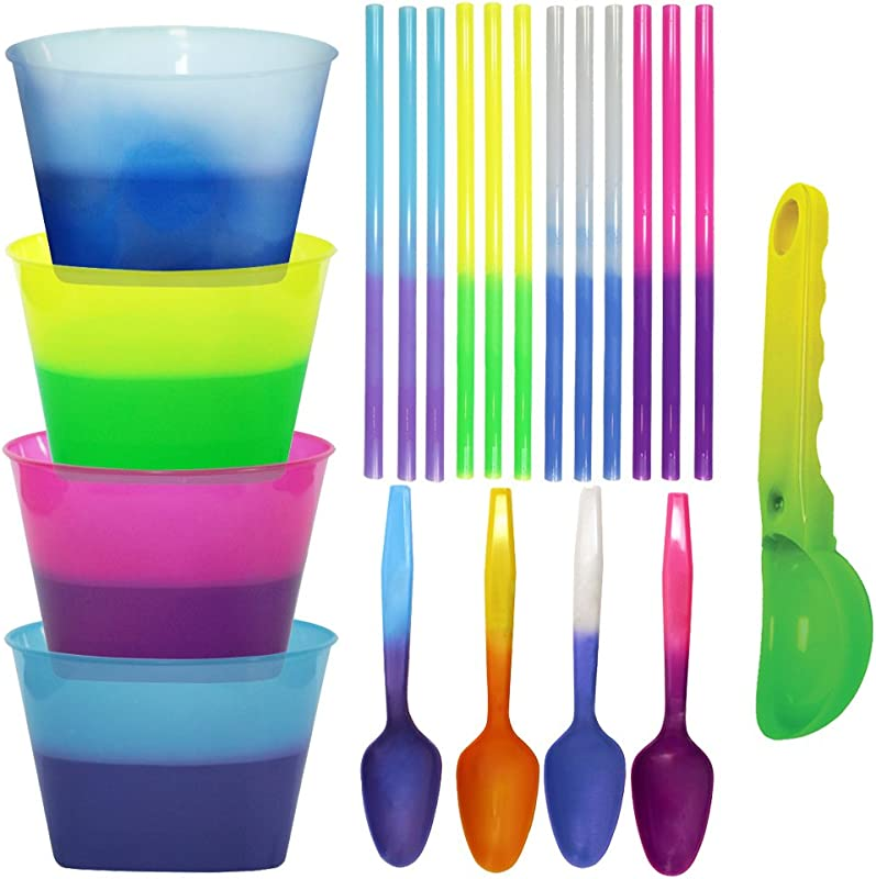 Color Changing Reusable Ice Cream Kit 4 Bowls 4 Spoons 12 Straws 1 Scoop