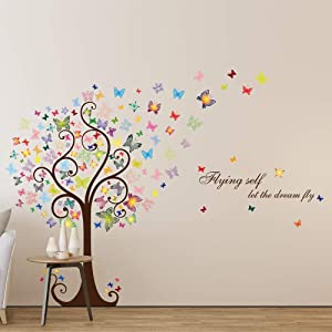 Supzone Butterfly Tree Wall Sticker Colorful Tree Wall Decal Flying Self Let The Dream Fly Wall Decor Butterflies Quotes and Sayings Wall Art for Bedroom Living Room DIY Vinyl Waterproof Mural