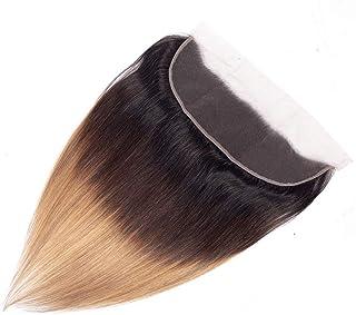 YESONEEP レースの閉鎖とストレートオンブルバージンヘア - ブラウン3トーンカラーヘアエクステンション織り横糸ファッションウィッグ (Color : ブラウン, サイズ : 10 inch)