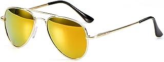 Miuno - Gafas de sol infantiles con estructura de metal, gafas de aviador para niños y niñas, con funda 4025k