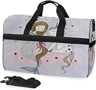 Cartoon Rainbow Cloud Mermaid Unicorn Star Sports Gym Bag with Shoes Compartment Travel Duffel Bag for Men Women