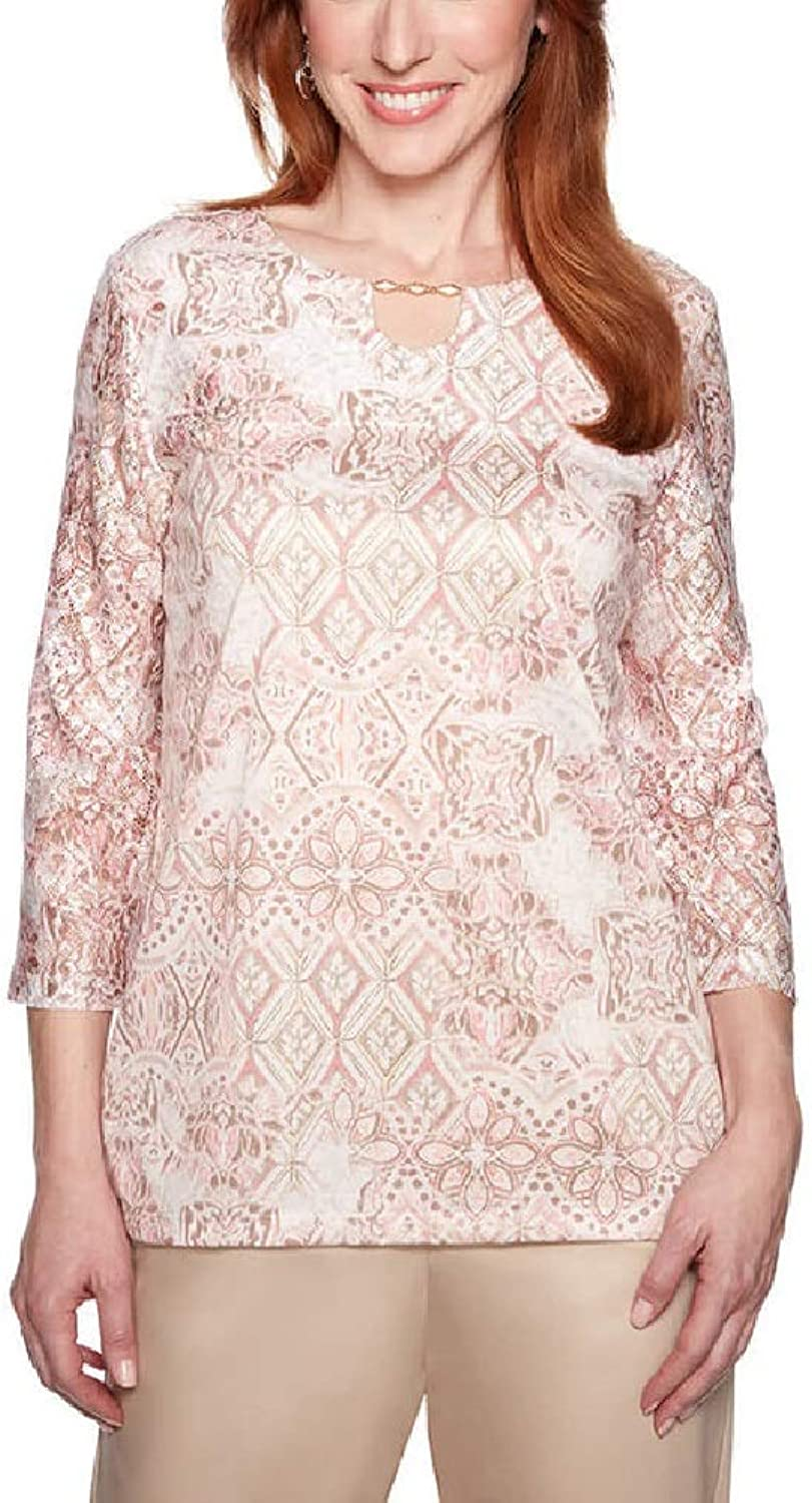 Alfred Dunner Women's Society Page Medallion Lace Top