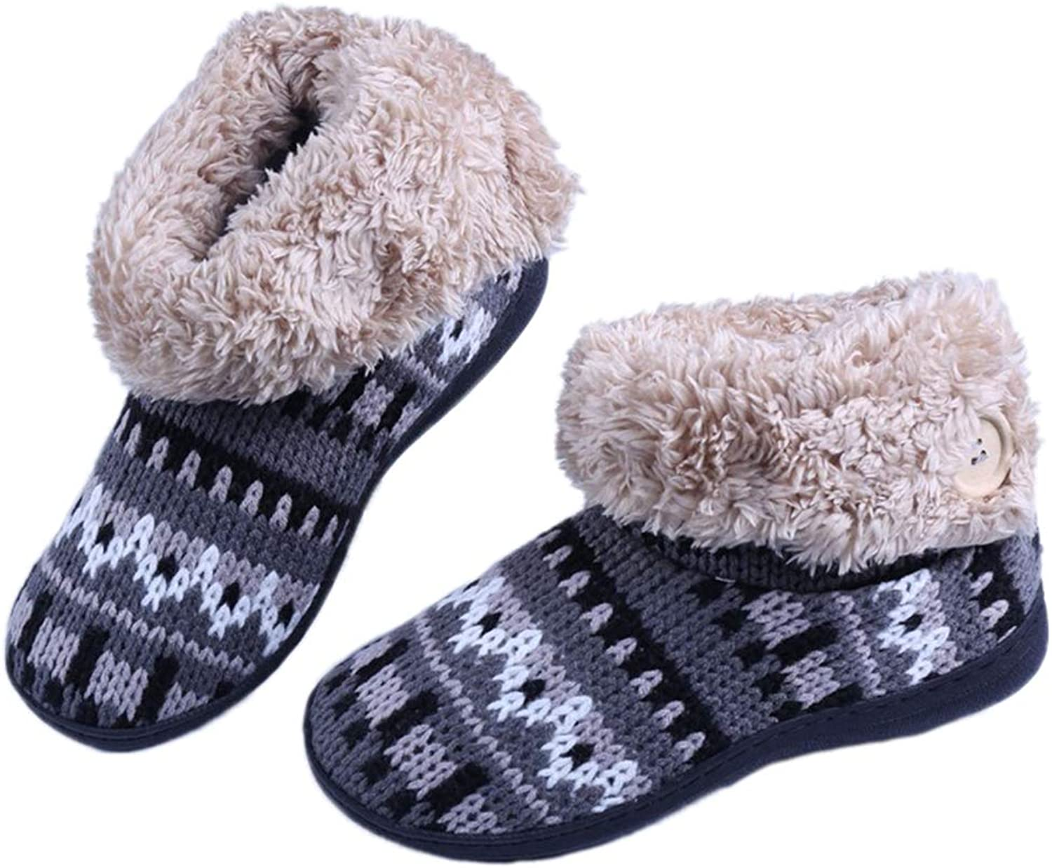 Home Winter Slippers Women Men Unisex Non-Slip Fabric Thick Plush Warm Stripe Indoor Boots shoes
