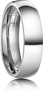 6mm Titanium Rings Plain Dome High Polished Silver Wedding Band in Comfort Fit Size 5.5-15