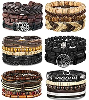 LOLIAS 4-24 Pcs Woven Leather Bracelet for Men Women Cool...