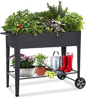 Sponsored Ad – KHOMO GEAR Urban Garden Trolley Raised Galvanised for Home Growing Plants Fruit Vegetables Terrace Garden I...