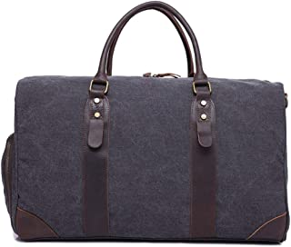 LIUFULING Retro Men's Travel Bag Canvas with Leather Large Capacity Bag (Color : Blue, Size : OneSize)