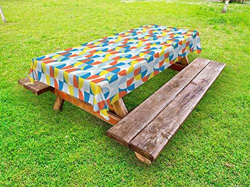 ABAKUHAUS Geometrisch Outdoor-Tischdecke, Bauhaus Kreisform, dekorative waschbare Picknick-Tischdecke, 145 x 265 cm, Mehrfarbig