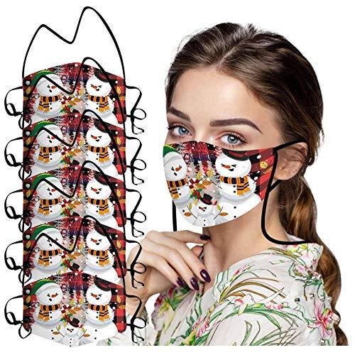 ZHX 5 Stück Weihnachten Mund und nasenschutz Schutztuch Gesichtsschutz Schutzhülle Outdoor Schutztuch staubdicht Winddicht Mund Schal für die Sportmaske (G)