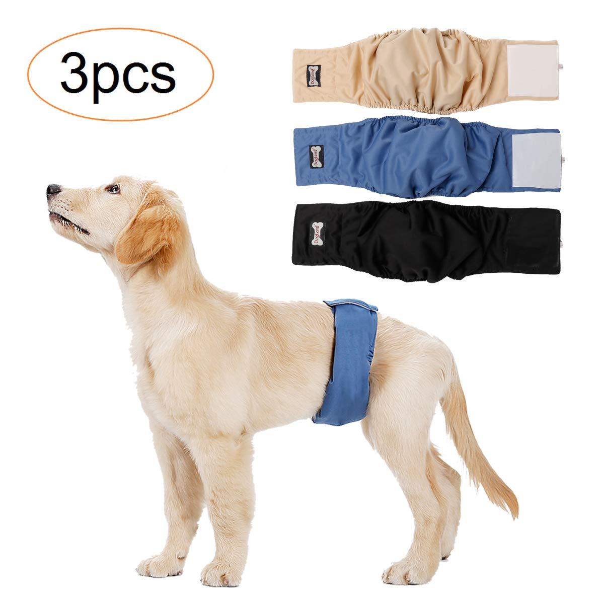 Tineer再利用可能なおむつを防水雄犬の子犬が小さい/ M用ラップおむつを円周/ M 3匹の犬はXLを搭載し