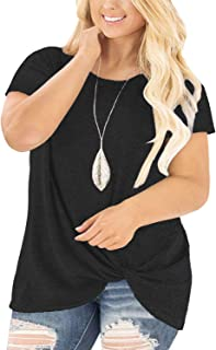 8ce350cb DOLNINE Women's Plus Size Knotted Tops Short Sleeve Tees Casual Tunics  Blouses