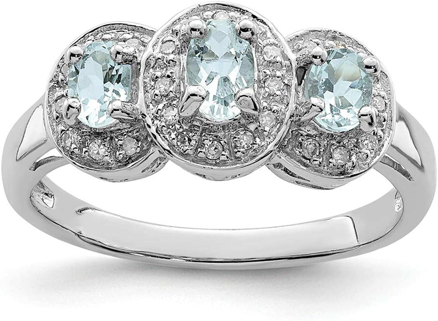 Beautiful Sterling silver 925 sterling Sterling Silver Rhodium Aqua & Diamond Ring