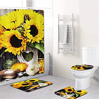SeaHome 4 Pieces Sunflower Shower Curtain Set, Sunflower Art Decor Waterproof Non-Slip Bathroom Curtain Toilet Pad Cover and Bath Mat Rug Set with Hooks (Type A)