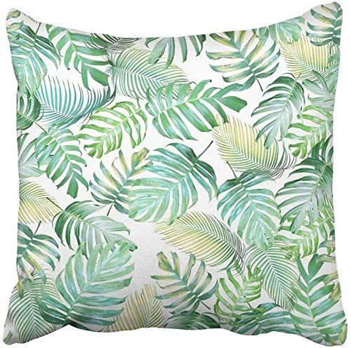 Kinhevao Cojín Decorativo Trópico Hojas Tropicales de Monstera Filodendro y Palma en Verde Claro Tono Color Amarillo Cojín Pastel