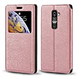 LG G2 Case, Wood Grain Leather Case with Card Holder and