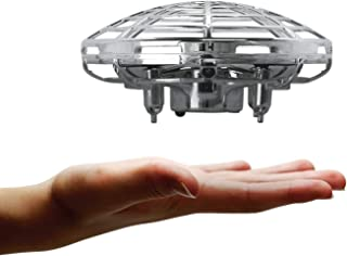 Amcrest Hand Controlled Drone for Kids, Mini Hand Operated Flying Ball Drone with 2 Speed Modes, 360° Rotating LED Lights, Interactive Infrared Induction, OB1-M Force (Metallic Silver)
