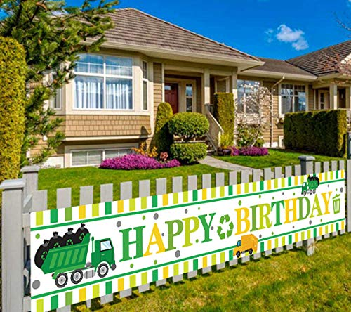 Large Garbage Truck Birthday Banner, Trash Trucks Birthday Sign Banner, Waste Management Recycling Bin Party Supplies Decoration, Outdoor Indoor (9.8 x 1.6 feet)