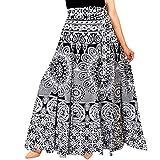 Rangun Women Maxi Skirt (WA_1002_Printed_ B&W_01_Black & White_Free Size)