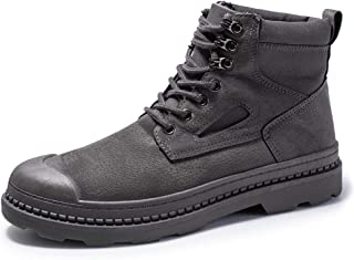 PengCheng Pang Classic Ankle Boots for Men Work Boot Lace up PU Leather & Cloth Split Joint Wear Resisting Anti-Slip Collision Avoidance Toe (Color : Gray, Size : 7.5 UK)