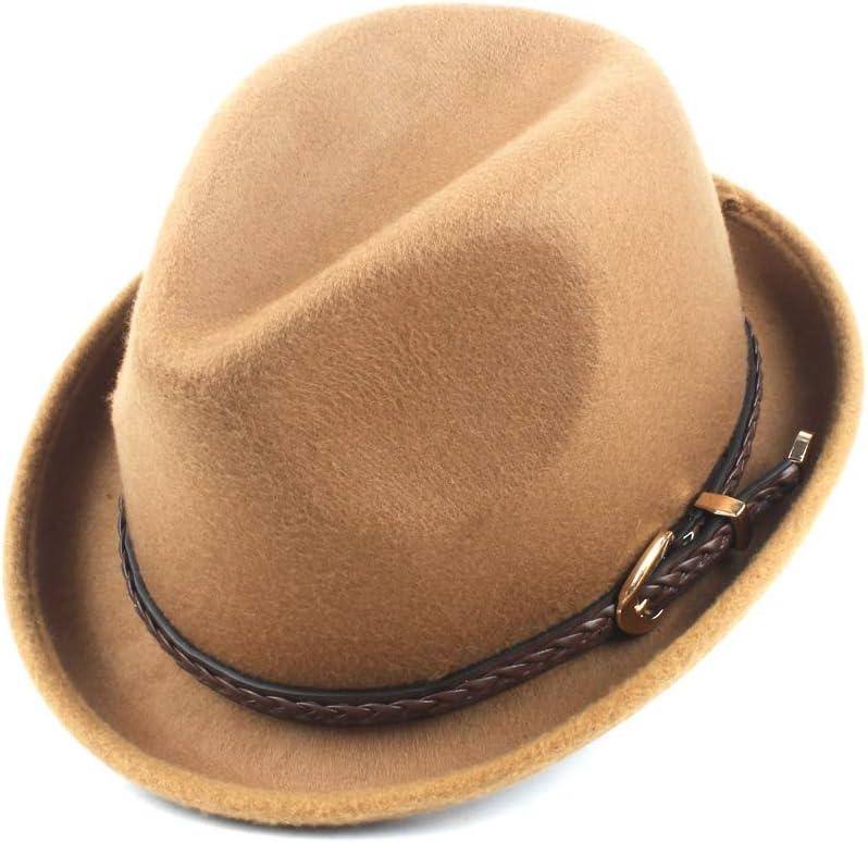 LHZUS Hats Fashion Women's Men's Fedora Hat with Belt Wool Polyester Fedora Hat Church Jazz Hat Autumn Winter Fashion Hat (Color : Khaki, Size : 58CM)