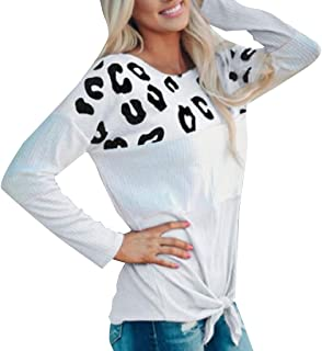 Miracle Womens Casual Color Block Long Sleeve Tie Bow Pullover Tops Loose Lightweight Tunic Tee