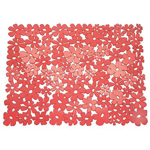 InterDesign Blumz Alfombrilla para fregaderos de Cocina, Gran Protector de Fregadero en plástico PVC, Rojo