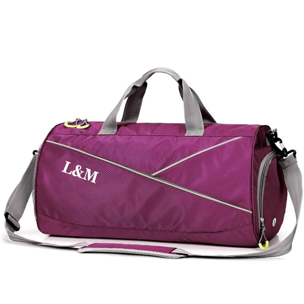 健身包带鞋隔层和湿口袋,运动旅行行李袋健身房收纳包 男女皆宜 紫色 大