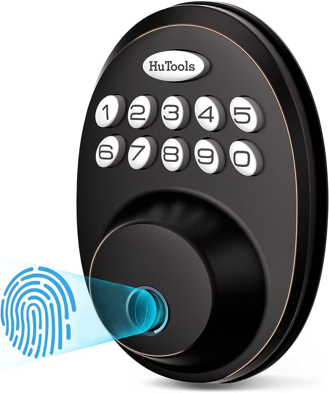 Fingerprint Door Lock, HuTools Keyless Entry Door Locks with Keypads, Electronic Deadbolt Lock Fingerprint with 20 User Codes, Auto Lock, Biometric Digital Locks, Oil Rubbed Bronze