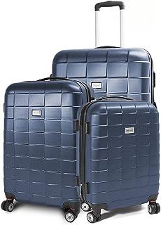 MS-Point BERWIN Kofferset 3-teilig Reisekoffer Koffer Trolley Hartschalenkoffer ABS Teleskopgriff Modell Squares Dunkelblau