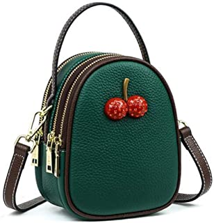 Portable Spring New Leather One-Shoulder Women's Soft Leather Diagonal Package (Color : Green)