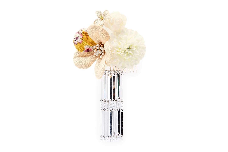 (ソウビエン) 髪飾り 白 ピンポンマム 菊 花 コサージュ 縮緬 和柄 びら飾り 小ぶり 日本製
