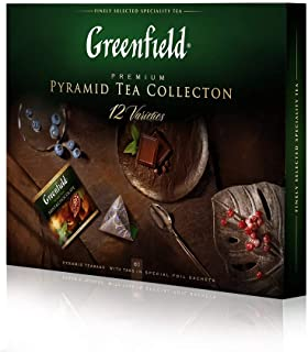 GREENFIELD EINE SAMMLUNG VON AUSGEZEICHNETEM Blatttee in den Pyramiden | Tee Set | Greenfield Tee Collection | Tee Geschenk | teebox geschenkset | PREMIUM Set | 12 Sorten, 60 Pyramiden