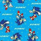Robert Kaufman Tela Sonic The Hedgehog – RK272 azul – por 0,5 metros – Colección de telas SEGA 100% algodón