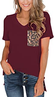 Minclouse Women's Leopard/Sequin Pocket Summer Tops Short Sleeves V Neck T Shirt Casual Basic Tees