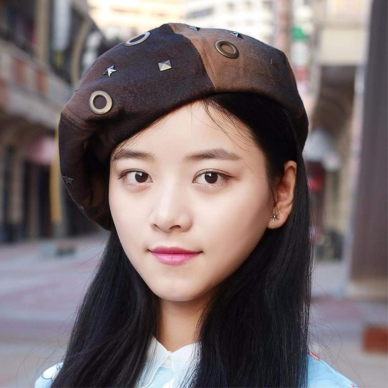 Chuiqingnet Autumn Winter Female Cap beret rivet Fashion Cap, painter cap thick air hostesses Cap