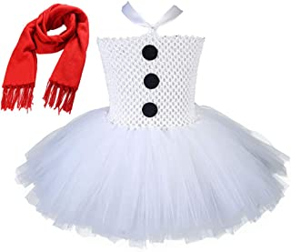 Tutu Dreams Girls Snowman Costume with Scarf 1-12Y White Tutu Dress Halloween Christmas Party