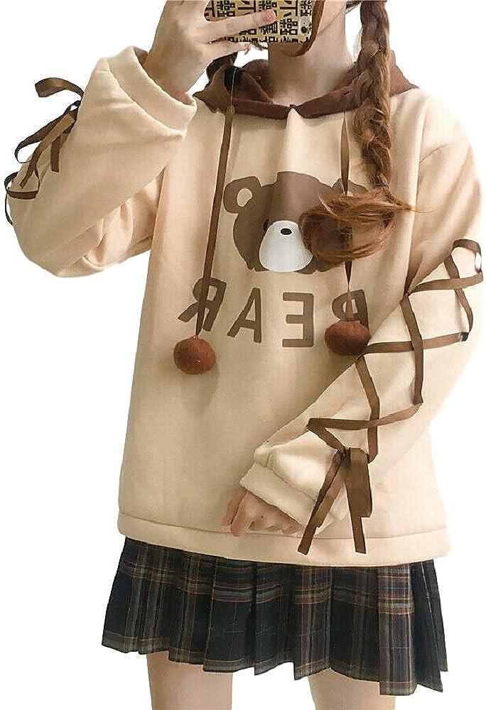 GK-O Japanese Mori Girl Cute Bear Lace Hoodie Sweater Sweatshirt Harajuku Kawaii Long Sleeve Pullover Beige