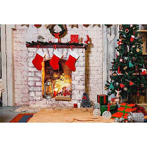 Fondos de Navidad para Fiestas Familiares, árbol de Nieve de Invierno, Piso de Madera de Santa, Fondos para niños, sesión fotográfica para Estudio fotográfico A4, 10x7ft / 3x2,2 m