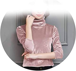 Surprise S New On Korean Style Turtleneck Blouse Long Sles Elegant Velour Shirt Top Blusas