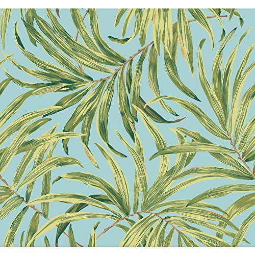 York Wallcoverings Tropics Bali Leaves Removable Wallpaper, Aqua/Yellow/Green/Greenish/Yellow