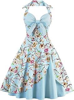 IBTOM CASTLE Womens 1950s Retro Rockabilly Princess Cosplay Dress Floral Halter Audrey Hepburn 50's 60's Party Costume Gown