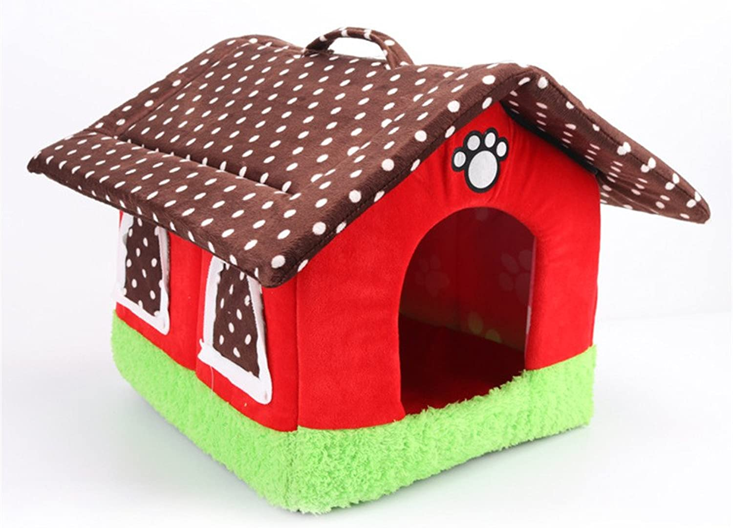 LXLP Pet House Supplies Dog House Cottages Cat Dog Bed House Kennel Doggy Warm Cushion Basket (13.4×13.4×14.2inch, Red)