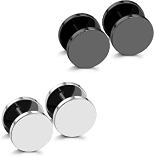 JewelrieShop Black Earrings Men Dot Studs Fake Gauges Plugs Earring Stainless Steel Circle Disc Flat Back Cheater Tunnel Dumbbell Earrings Women (18g,2 Pairs,3mm-14mm,Black and Silver)