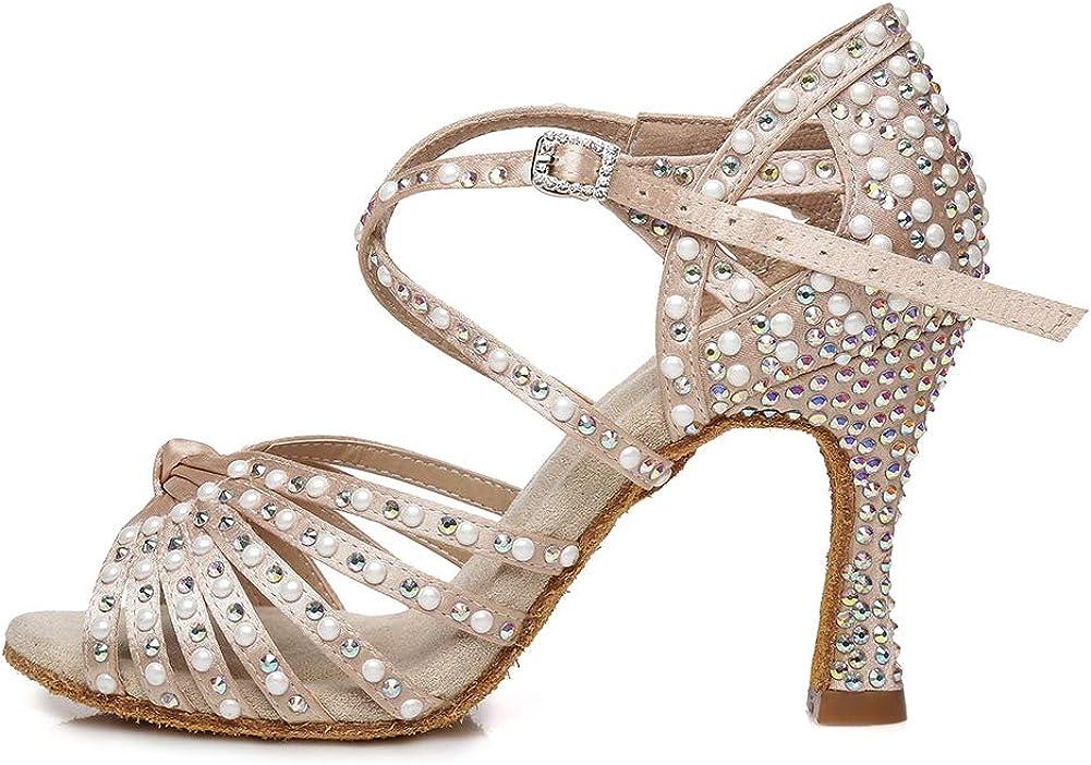 HROYL Women's Rhinestone Latin Dance Shoes Salsa Ballroom Performence Wedding Party Dance Heels,YCL429