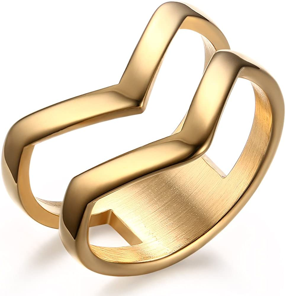 HUANIAN Fashion Gold Plated Stainless Steel Double Chevron V Shape Knuckle Midi Ring for Women