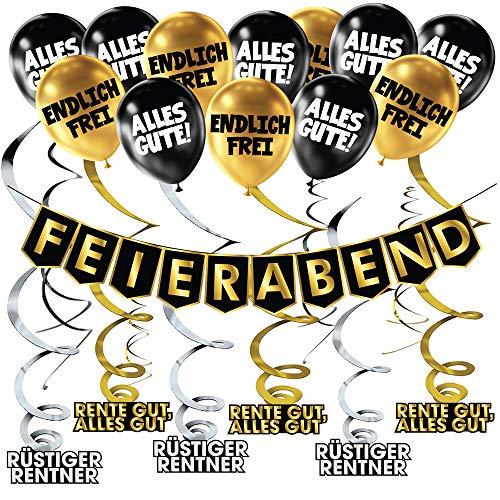 Lustiger Banner für Rentner Schwarz Gold Party Dekoration, Girlande Luftballons Banner Set, Party-Zubehör zur Pensionierung, Deko für den Ruhestand